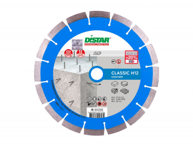 230MM DISTAR CLASSIC H12 Deimantinis diskas gelžbetoniui hidrotechniniam betonui