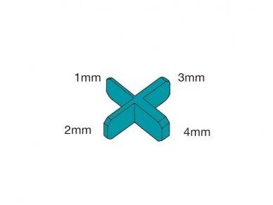 Kryžiukai plytelių tarpams, 1,2,3,4mm briaunos, daugkartiniai 50 vnt. BIHUI 2
