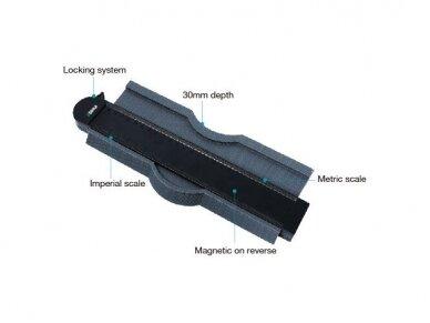 250 mm Kontūrų matuoklis šablonas trafaretas profiliams BIHUI 2