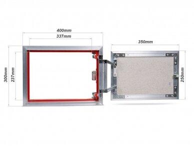 Revizinės durelės, aliuminės (plytelėms) ATP 400 x 300 2