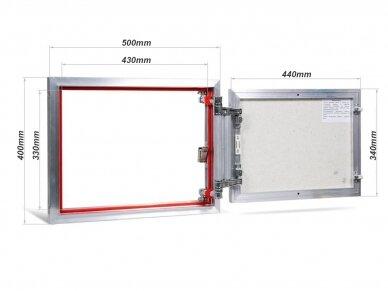 Revizinės durelės, aliumininės (plytelėms) ETP 500 x 400 2