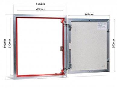 Revizinės durelės, aliumininės (plytelėms) ETP 500 x 600 2