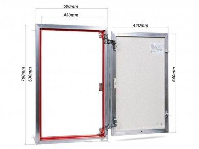 Revizinės durelės, aliumininės (plytelėms) ETP 500 x 700 2