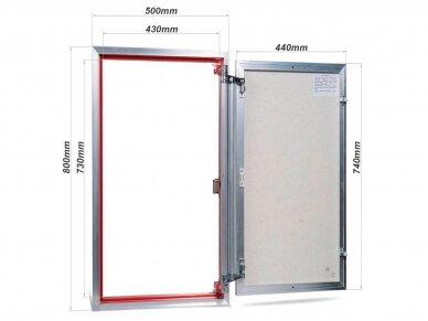 Revizinės durelės, aliumininės (plytelėms) ETP 500 x 800 2