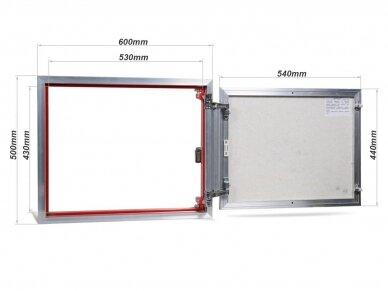 Revizinės durelės, aliumininės (plytelėms) ETP 600 x 500 2