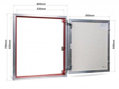 Revizinės durelės, aliumininės (plytelėms) ETP 600 x 700 2