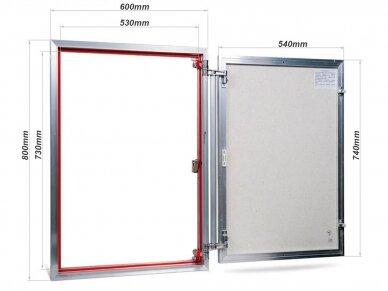 Revizinės durelės, aliumininės (plytelėms) ETP 600 x 800 2